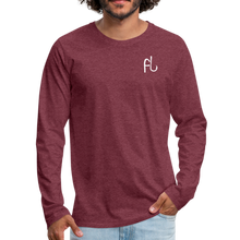 Load image into Gallery viewer, Flip Lures White Logo Back and Front Long Sleeve T - heather burgundy