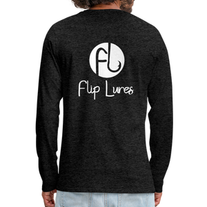 Flip Lures White Logo Back and Front Long Sleeve T - charcoal gray