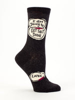 Blue Q Socks - Womens Crew - I am Going to Get S**t Done Later - Size 5-10