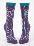 Blue Q Socks - Womens Crew - I Love My Job HaHa Just Kidding - Size 5-10