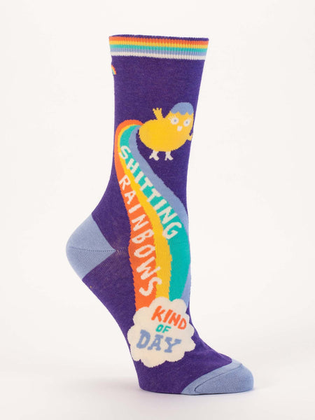 Blue Q Socks - Womens Crew - Sh**ting Rainbows Kind of Day - Size 5-10
