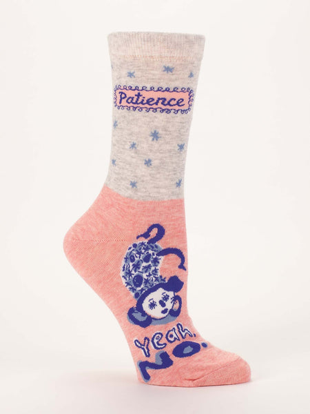 Blue Q Socks - Womens Crew - Patience Yeah No - Size 5-10