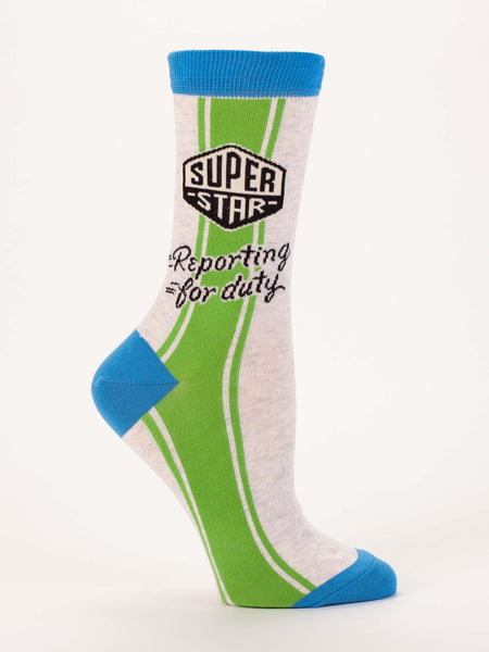 Blue Q Socks - Womens Crew - Superstar Reporting For Duty - Size 5-10