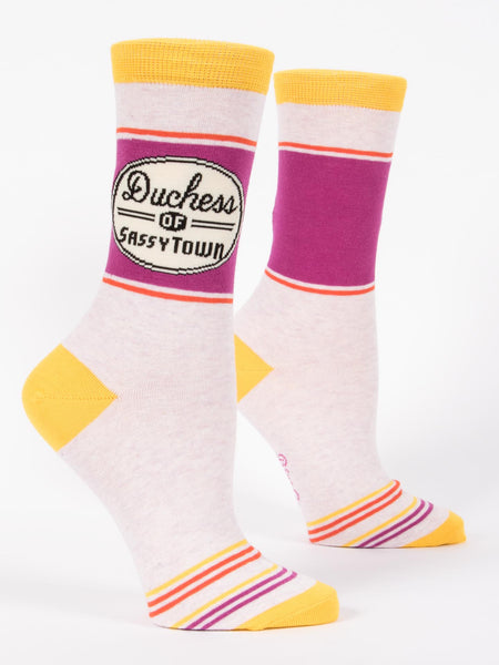 Blue Q Socks - Womens Crew - Duchess of Sassytown - Size 5-10 - Funny Socks