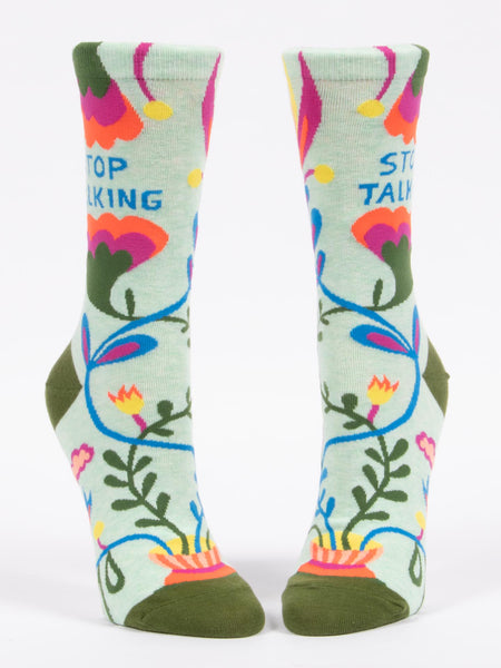 Blue Q Socks - Womens Crew - Stop Talking - Size 5-10