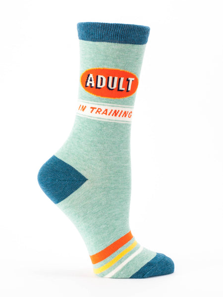 Blue Q Socks - Womens Crew - Adult In Training - Size 5-10