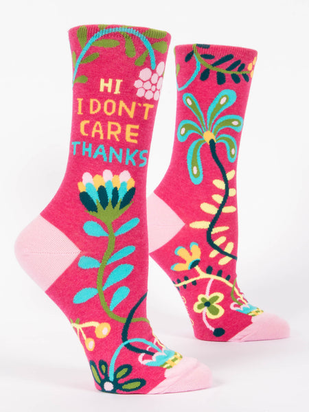 Blue Q Socks - Womens Crew - Hi I Don't Care Thanks - Size 5-10