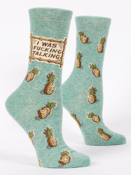 Blue Q Socks - Womens Crew - I Was F**king Talking - Size 5-10 - Funny Pineapple Socks