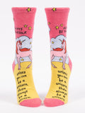 Blue Q Socks - Womens Crew - Always Be Yourself Unless You Can Be A Unicorn - Size 5-10