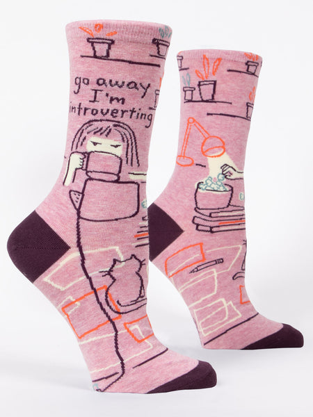 Blue Q Socks - Womens Crew - Go Away I'm Introverting - Size 5-10 - Funny Socks - Pink