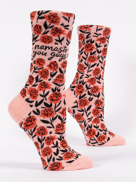 Blue Q Socks - Womens Crew - Namaste You Guys - Size 5-10 - Pink Floral Socks