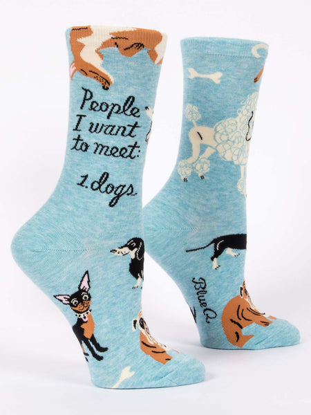 Blue Q Socks - Womens Crew - People I Want To Meet: Dogs - Size 5-10