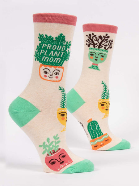 Blue Q Socks - Womens Crew - Proud Plant Mom - Size 5-10