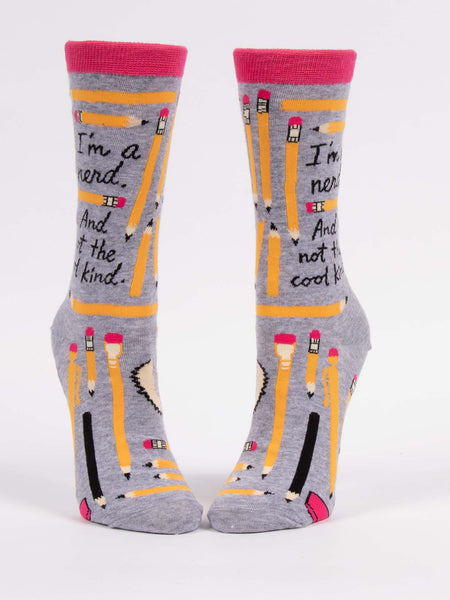 Blue Q Socks - Womens Crew - I'm A Nerd And Not The Cool Kind - Size 5-10