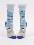 Blue Q Socks - Womens Crew - The Ocean Just Gets Me - Size 5-10 - Funny Socks - Blue