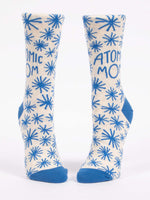 Blue Q Socks - Womens Crew - Atomic Mom - Size 5-10 - Gray and Blue