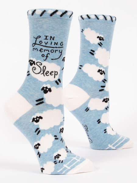 Blue Q Socks - Womens Crew - In Loving Memory of Sleep - Size 5-10