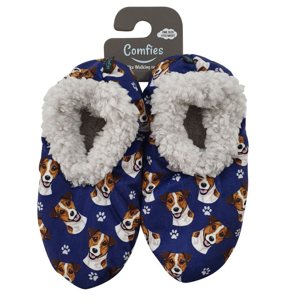 Jack Russell Dog Slippers - Women Size 5-11 - Anti-Slip - Comfies