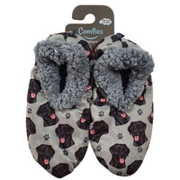 Black Labrador Dog Slippers - Women Size 5-11 - Anti-Slip - Comfies