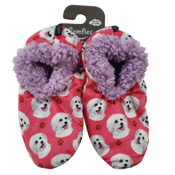 Maltese Dog Slippers - Women Size 5-11 - Anti-Slip - Comfies
