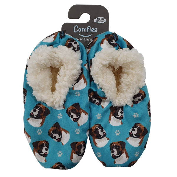 Boxer Dog Slippers - Women Size 5-11 - Anti-Slip - Comfies