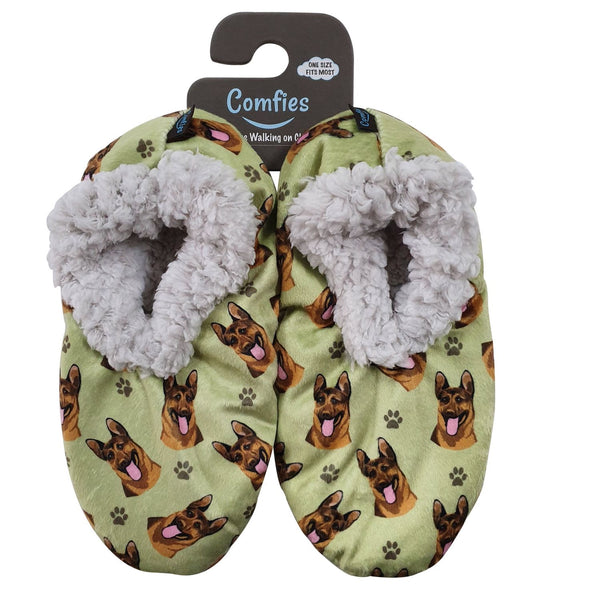 German Shepherd Dog Slippers - Women Size 5-11 - Anti-Slip - Comfies