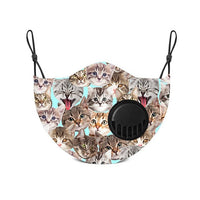 Adult Face Mask With Replaceable Carbon Filter - Kitty All Over - Living Royal