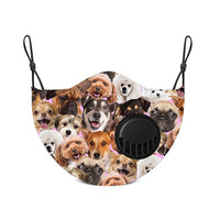 Adult Face Mask With Replaceable Carbon Filter - Puppy All Over - Living Royal