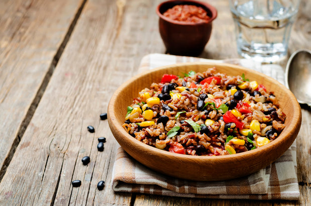 black beans corn white and red rice. toning