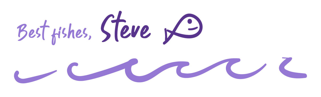 signature from Steve the fish with doodle of waves beneath it