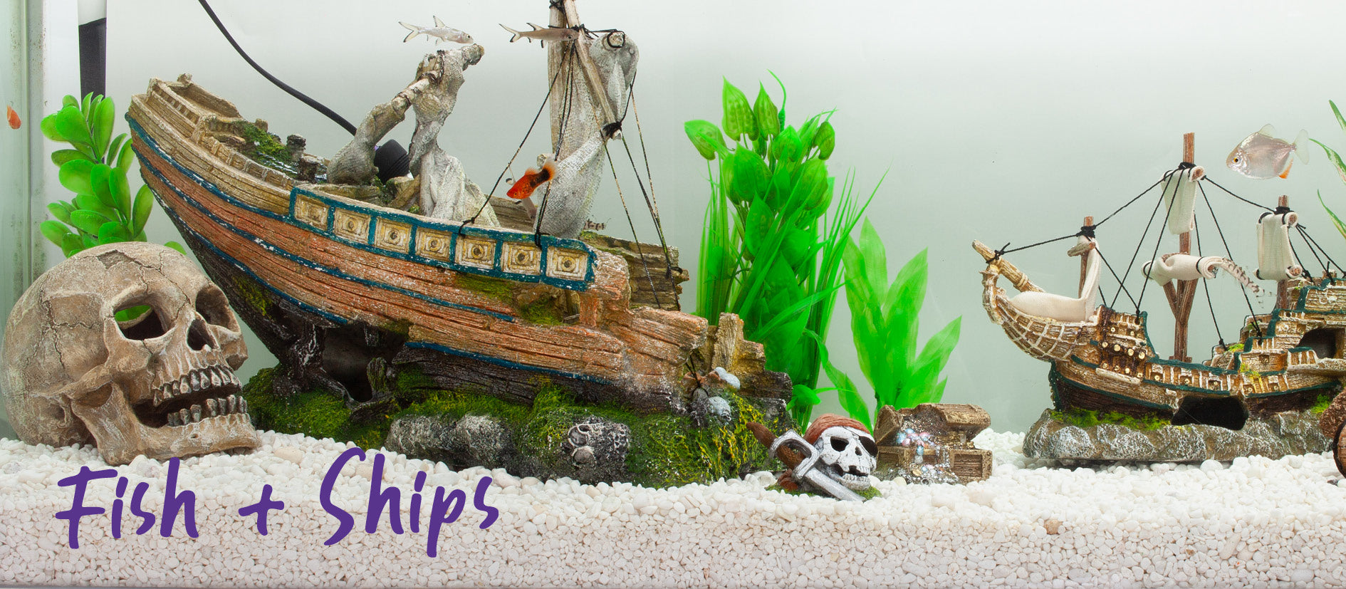 fish tank ornaments showing skull and sunken pirate ship with plastic green plants