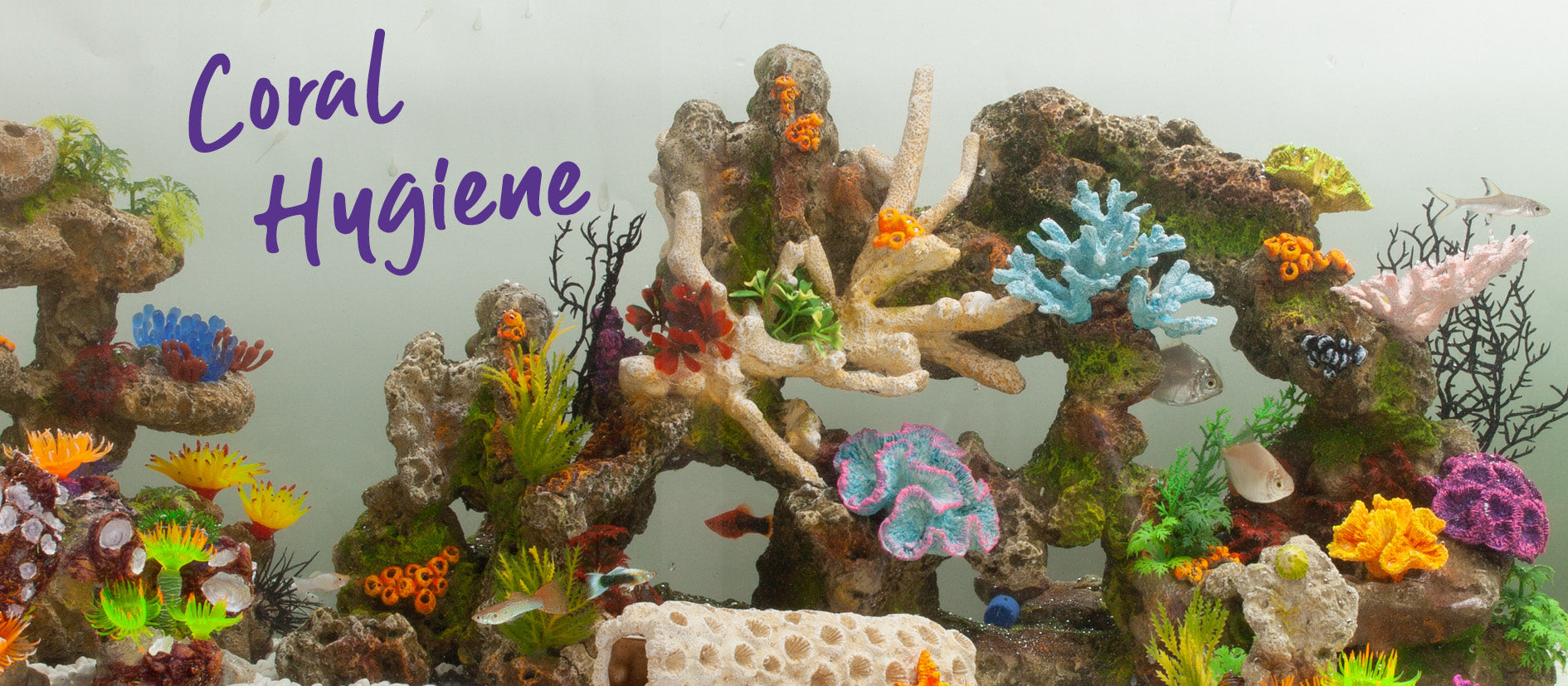 fish tank decorations with bright colourful painted coral