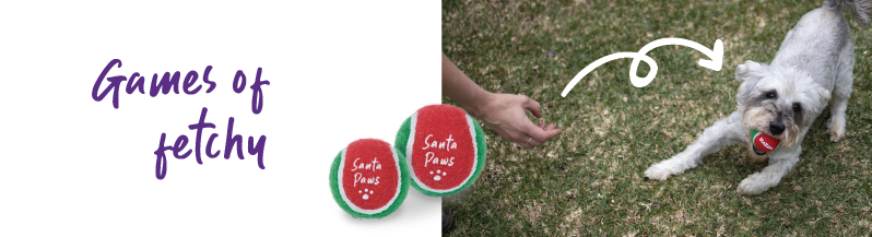 dog ball in christmas colours