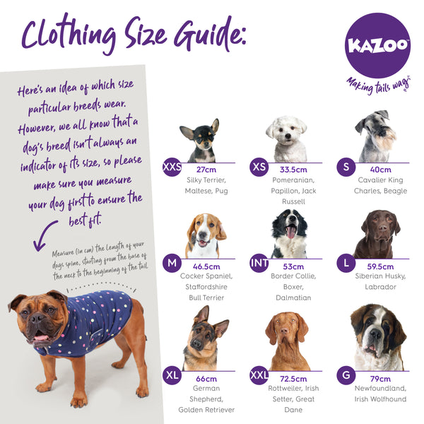 Kazoo dog clothing size guide