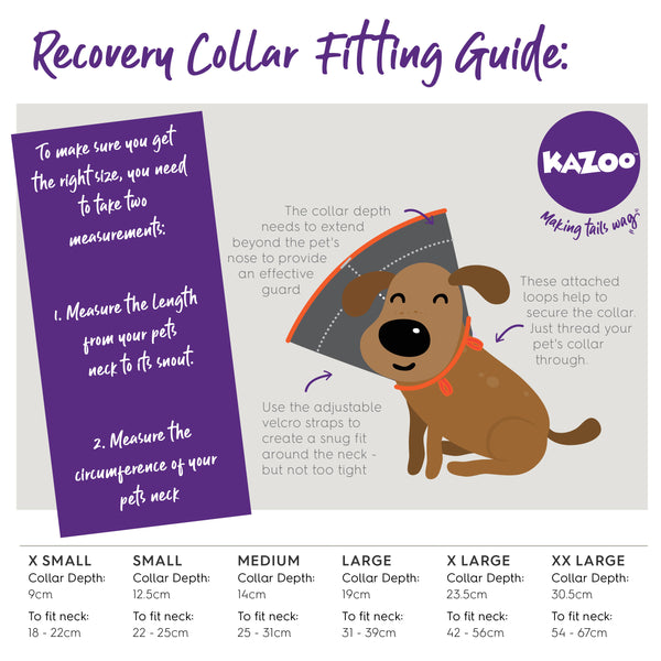 Kazoo recovery collar size guide