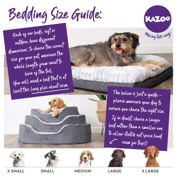 Kazoo pet bed size guide