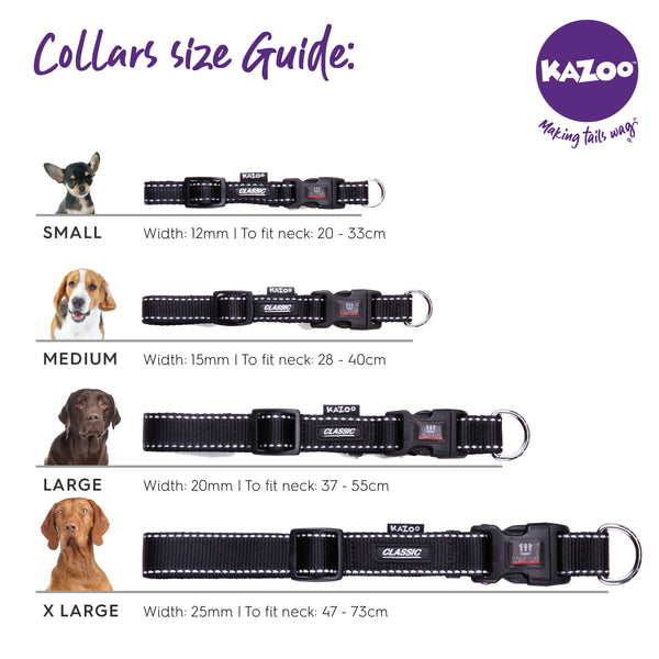 Kazoo dog collar size guide
