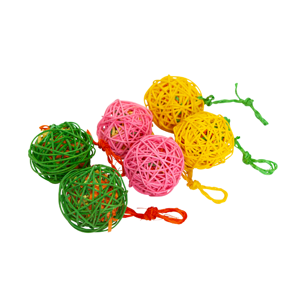 Colourful Wicker Ball - 6 Pack - Kazoo Pet Co
