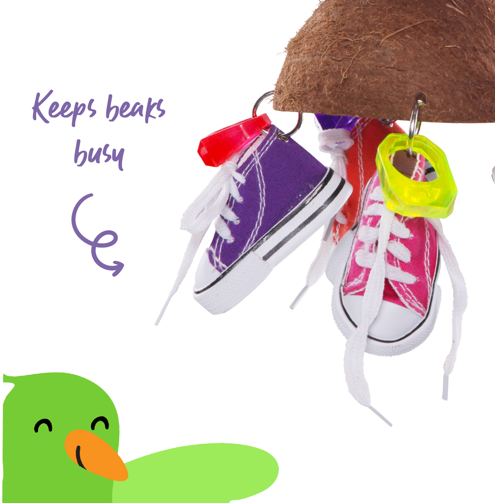 Split Coconut Shell with Sneakers - Kazoo Pet Co