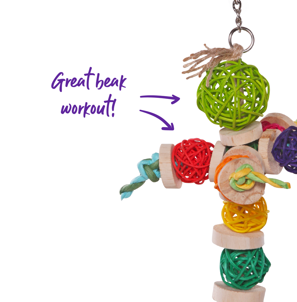 Colourful Wicker Balls with Decoration - Kazoo Pet Co