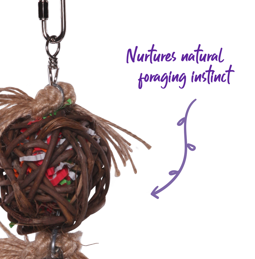 Hanging Wicker Ball with Bell - Kazoo Pet Co