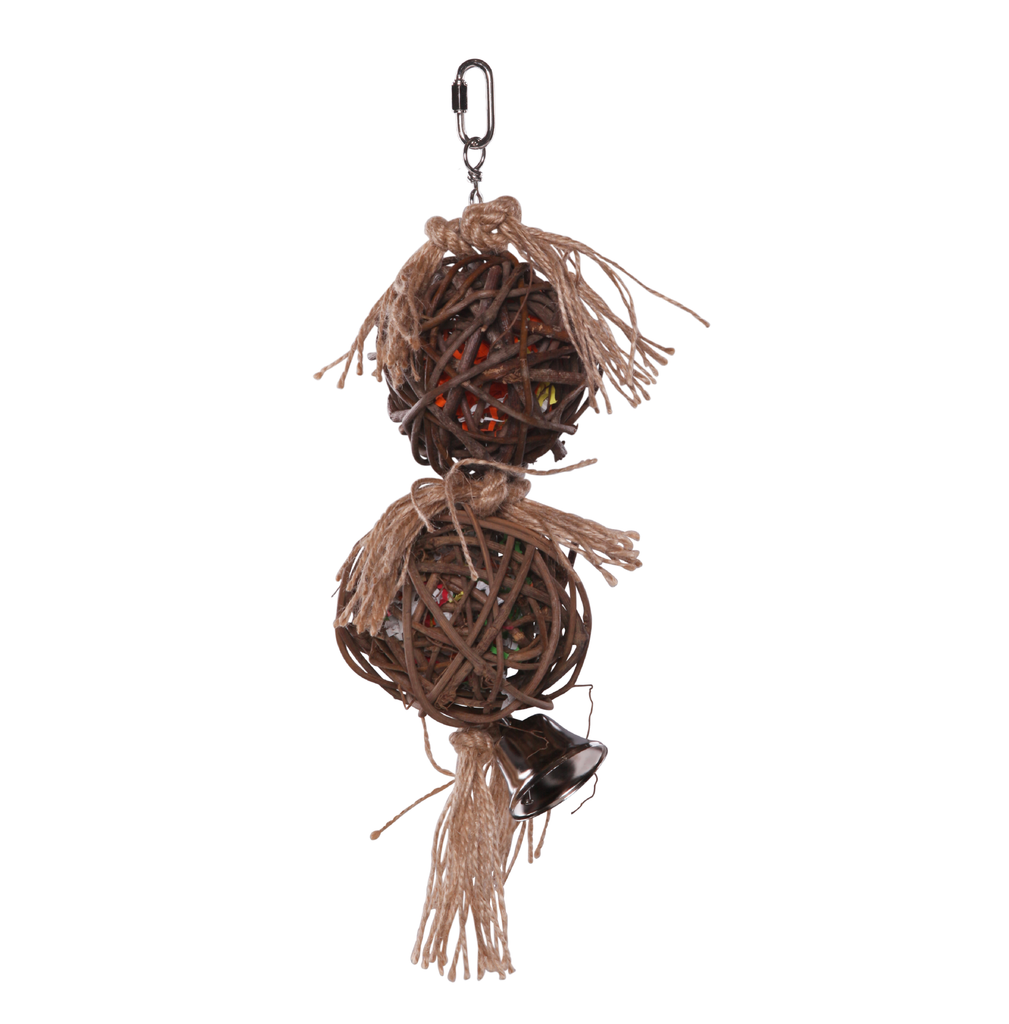 2 Piece Stacked Wicker Ball with Bell - Kazoo Pet Co