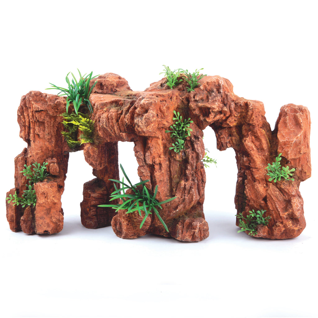 Red Stonehenge With Plants