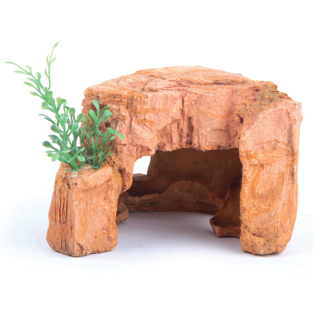 Sandstone Rock With Plant - Mini - Kazoo Pet Co