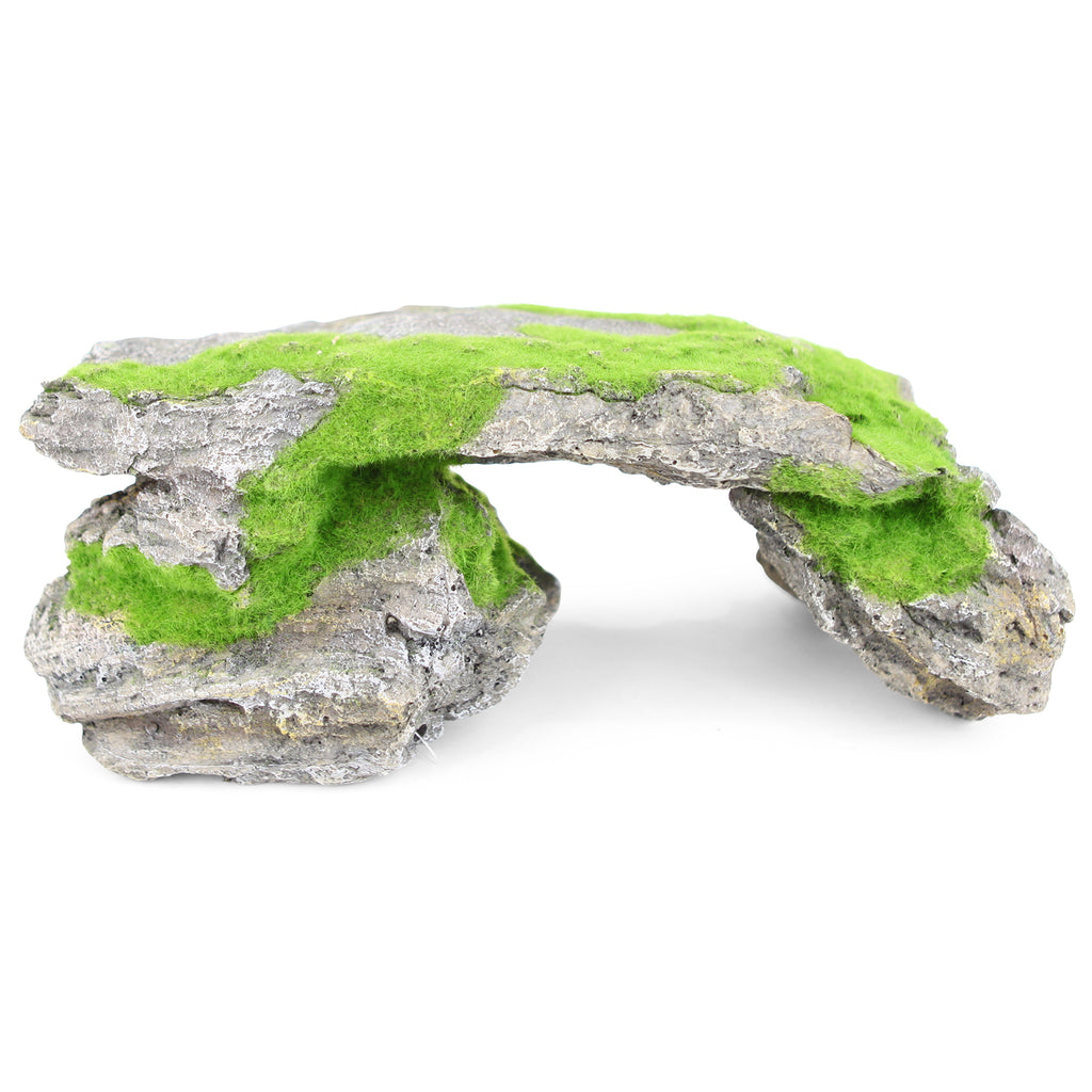 Natural Rock Bridge With Textured Moss - X Large - Kazoo Pet Co