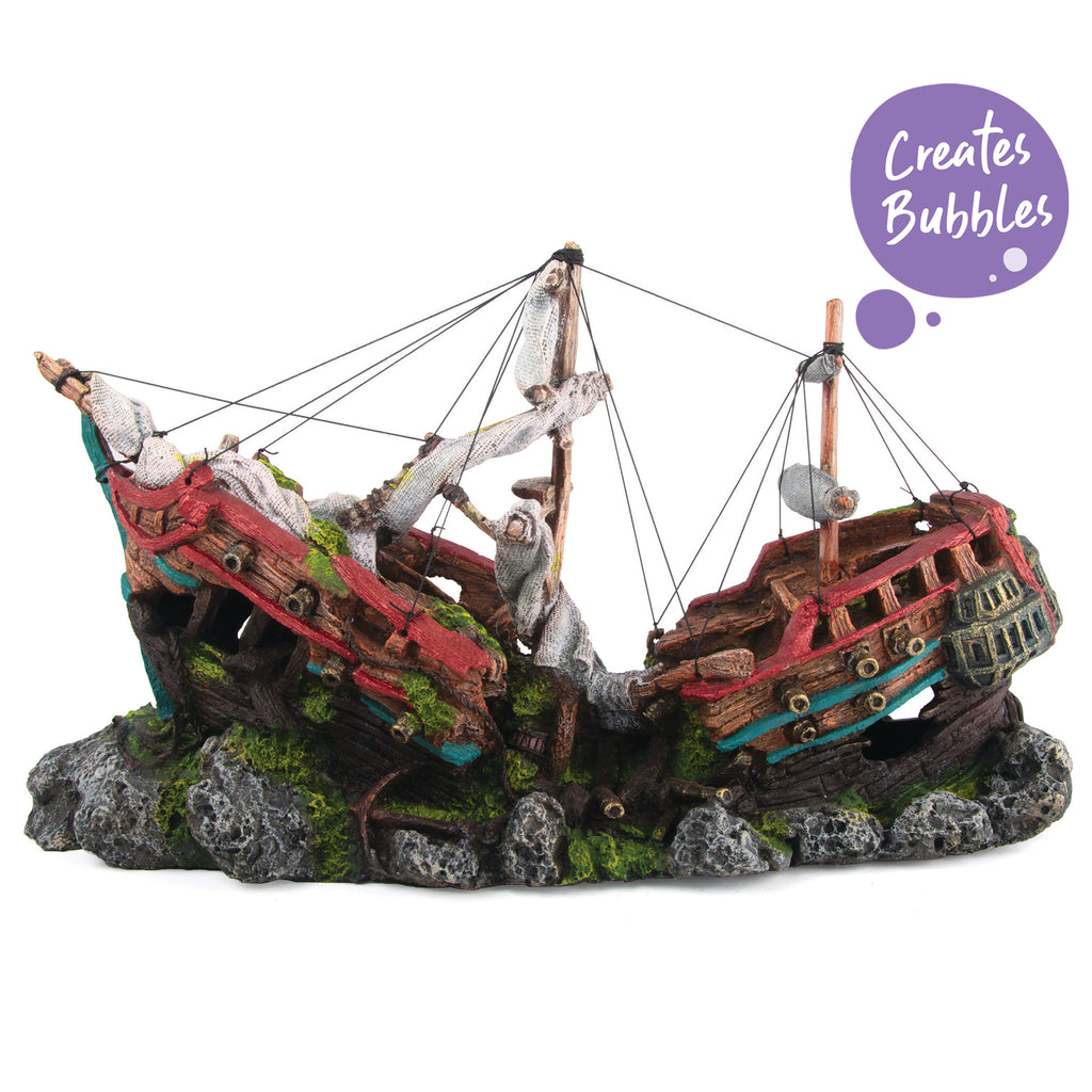 Bubbling Galleon With Cannons - Large - Kazoo Pet Co