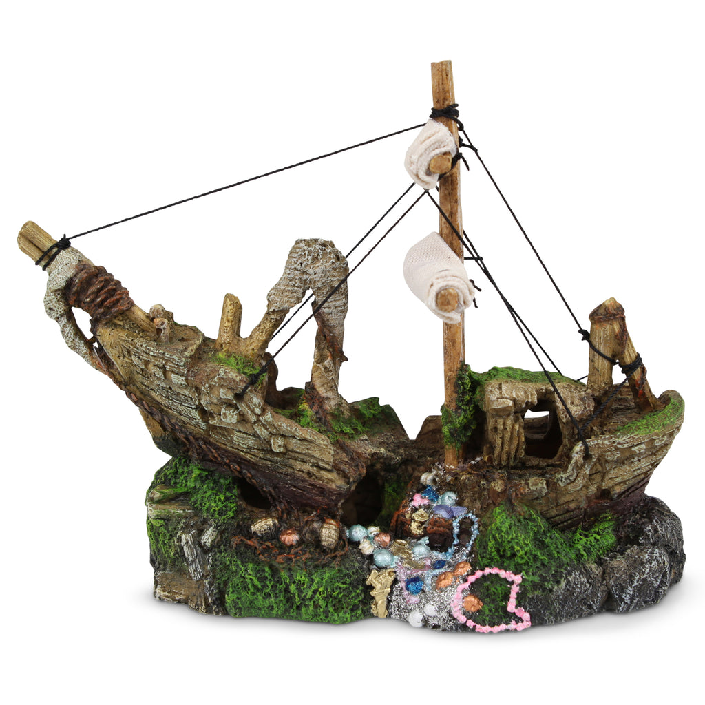 Shipwreck With Treasure & Sail - Small - Kazoo Pet Co
