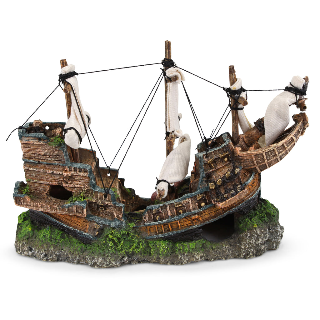 Shipwreck With Sail - Medium - Kazoo Pet Co