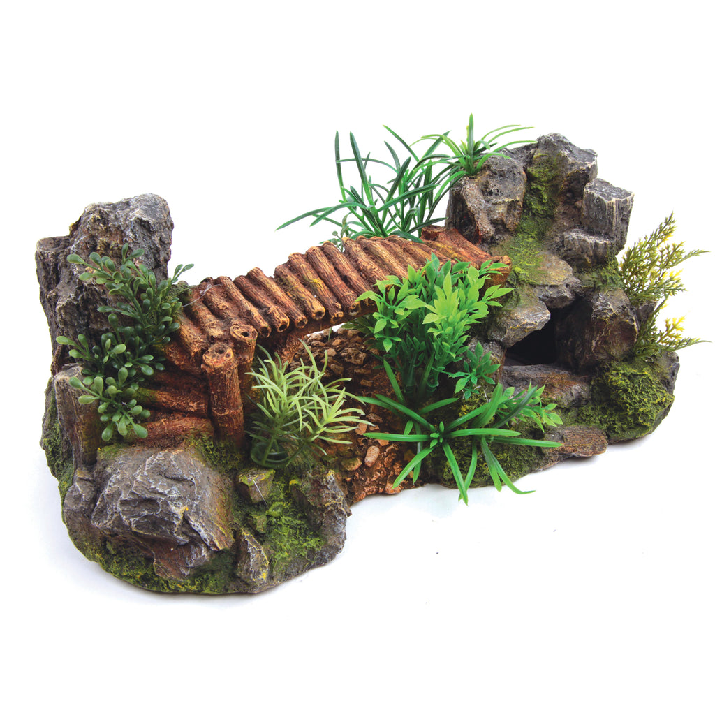 Bamboo Bridge With Plants - Large - Kazoo Pet Co