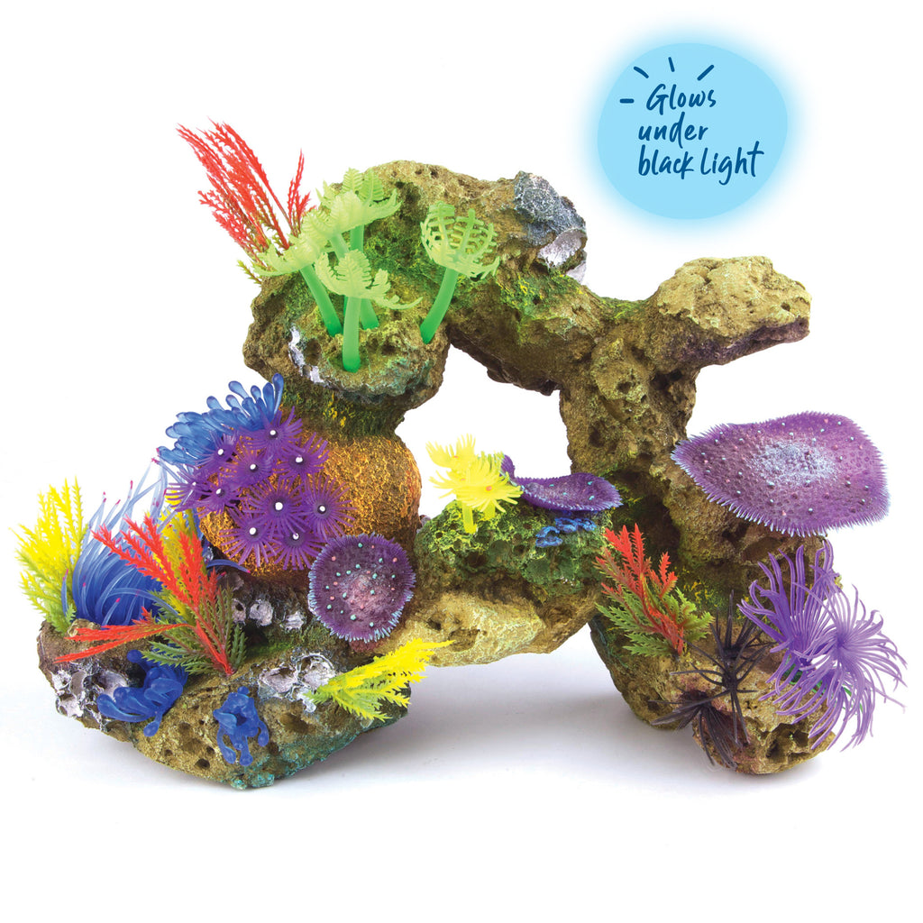 Soft Coral With Rock & Plants - X Large - Kazoo Pet Co